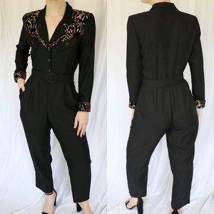 Vintage Belted Structured Velvet Burn Out Jumpsuit